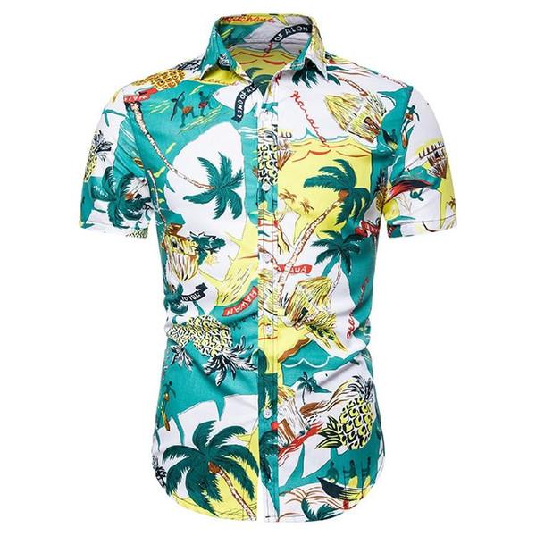 Casual Dress Men Shirt Social Blouse Men Short sleeve Camiseta masculina Summer New Hawaiian Shirt Men's clothing Flower