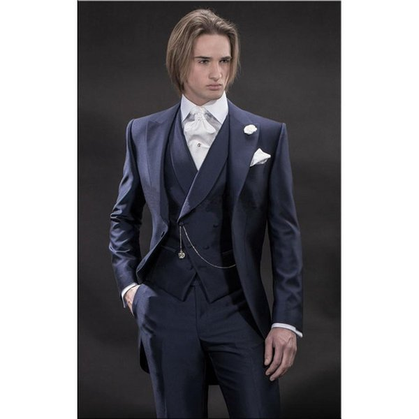 Navy Blue Groom Tuxedos Peak Lapel Groomsmen Best Man Suits Morning Style Mens Wedding Blazer Suits (Jacket+Pants+Vest+Tie)