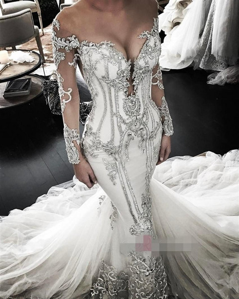0435b926c6 2019 Luxurious Mermaid Wedding Dresses Off-shoulder Long Sleeve Illusion  Bodice Cathedral Train lace up Applique Plus Size Wedding Gown