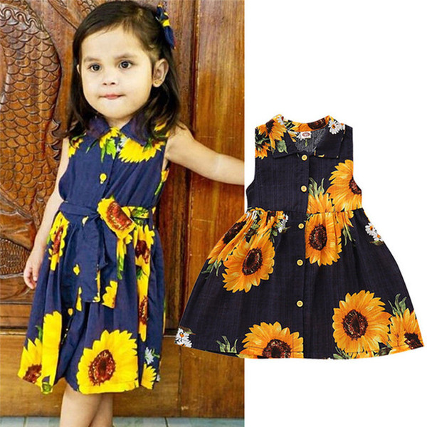 e9b6ec5195119 2019 Summer Sleeveless Sunflower Princess Dresses For Fashion Toddler Kids  Baby Girls Party Tutu Flower Girl Dress Dropship From Changchuncc, $16.09 |  ...