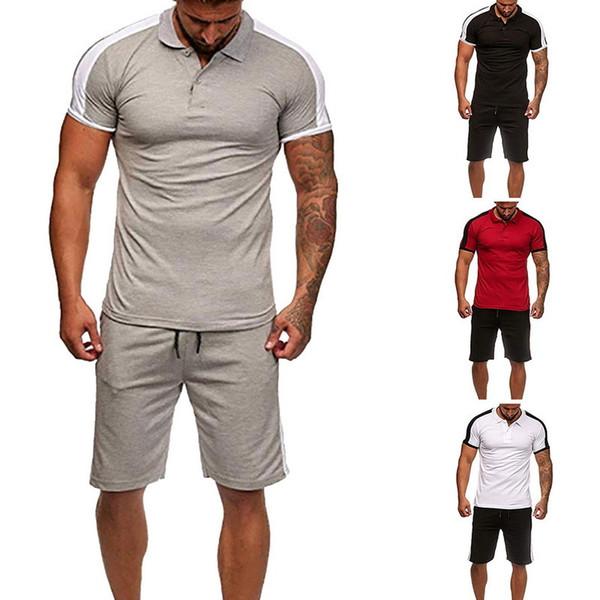 Heflashor Nice Two Pieces Set Мужская футболка с коротким рукавом + шорты Мужские спортивные костюмы Новые спортивные костюмы с коротким рукавом с короткими рукавами