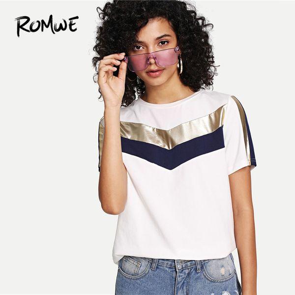 Romwe Kesim Ve Dikmek Katı Tee Chic Kısa Kollu Yuvarlak Boyun T Gömlek Konfor Beyaz Yaz Kore Elbise Kadın Q190524 Tops