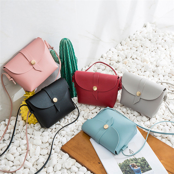 Fashion Candy Color All-match Bucket Bag Small PU Leather One Shoulder Cross-body Women's Handbag Female Small Phone Bag