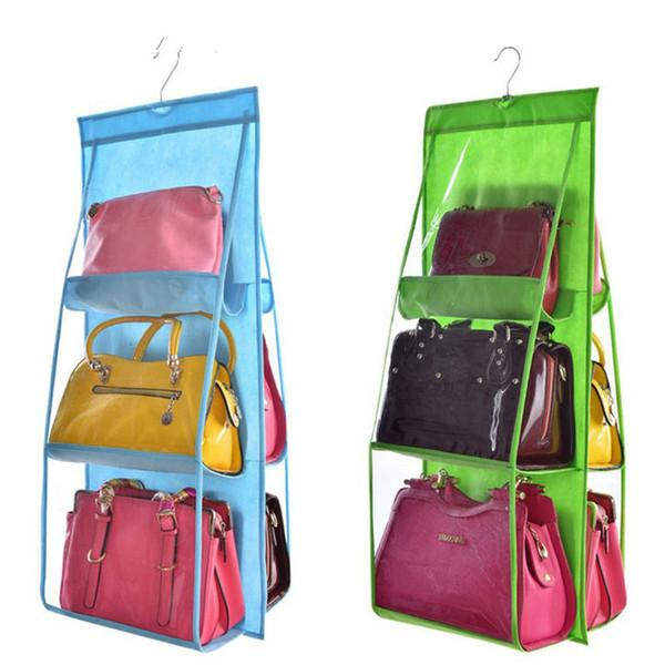 6 poches sac à main suspendu organisateur pour penderie placard sac de rangement transparent porte mur clair sac à chaussures divers avec pochette sac