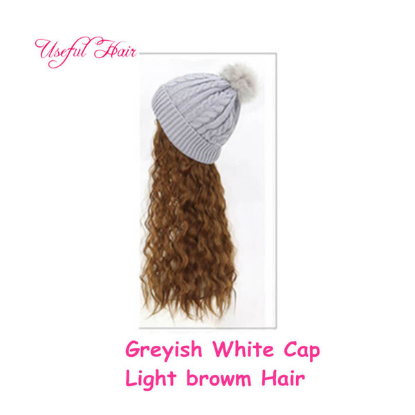 Greyish white cap light brwon Curly hair