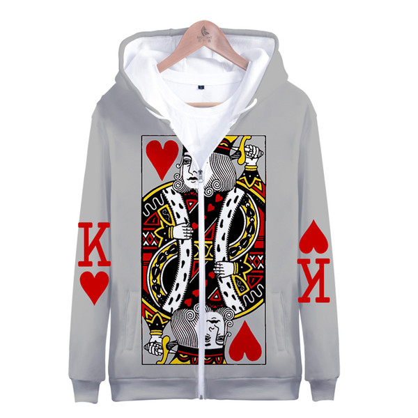 Personality Poker Printed Hoodies Zipper Clothing Creative Unisex Fashion High Quality Hoodie Sweatshirt Casual Hoodie Pullover