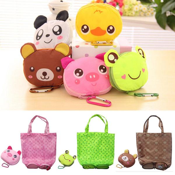 Cartoon Recycle Storage Grocery Foldable Handy Shopping Bag Reusable Tote Pouch Handbags Eco Reusable Bag Fruit Vegetable