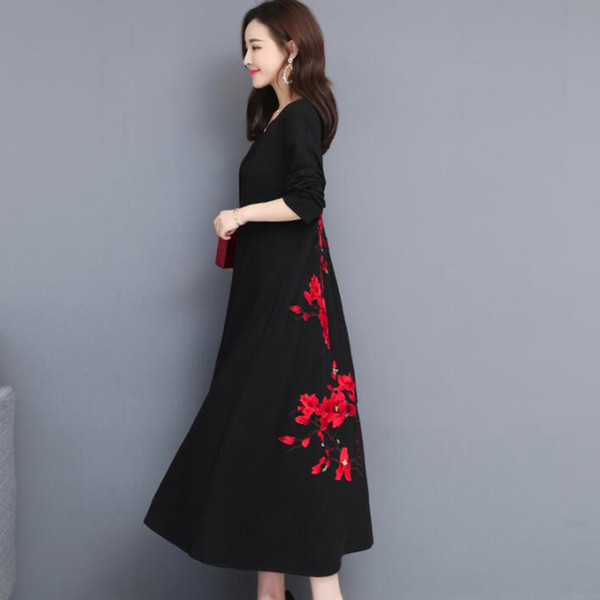 2019 Spring Autumn Casual Women Long Dress Vintage Loose Plus Size Dresses  Long Sleeve V Neck Flower Embroidery Party Dress 5XL Black Tie Dresses ...
