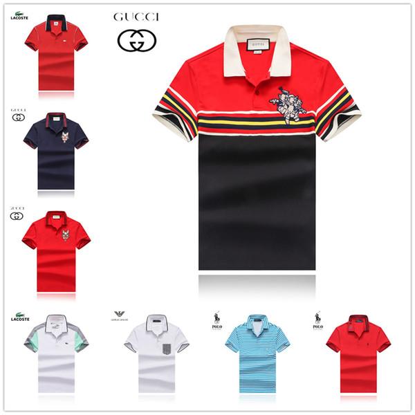 Hommes Polo Shirt Coton Lyocell Naturel Slik Manches Courtes Rouge Bleu Mode Casual Été Cool De Luxe Homme Plaid Homme Polos Chemises