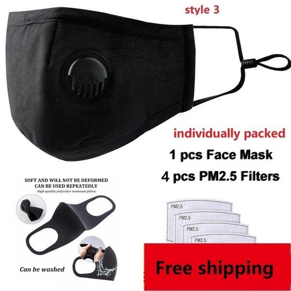 1 unids negro máscara + 4 unids filtros (style3)