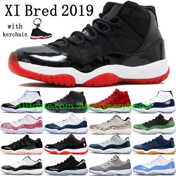 2019 Bred 11 11s Men Basketball Schuhe Damen Pink Snake Skin Navy Light Bone Space Jam Gammablau Concord Sneakers US 5.5-13