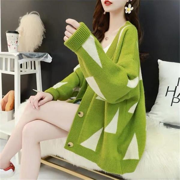 Sonbahar 2019 yeni net kırmızı kazak ceket kadın Joker hırka kazak