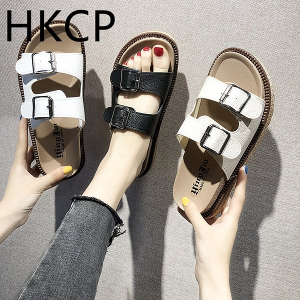 HKCP Fashion 2019 summer new women's casual gladiator sandals, Korean version flat belt buckle peep-toe sandals C187