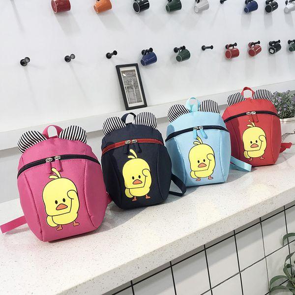 Dos desenhos animados Pouco pato amarelo Mochila Crianças Crianças Anti-lost Mochila Escolar Saco de Jardim de Infância à prova d 'água sacos de escola de viagem para meninas meninos