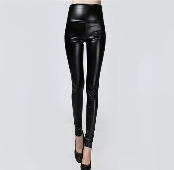 Sıcak Satış Sonbahar Kış Kadın Giyim Sıska PU Deri Kalem Tozluk Seksi Ince Polar Pantolon Bayanlar Ince Suni Deri Pantolon