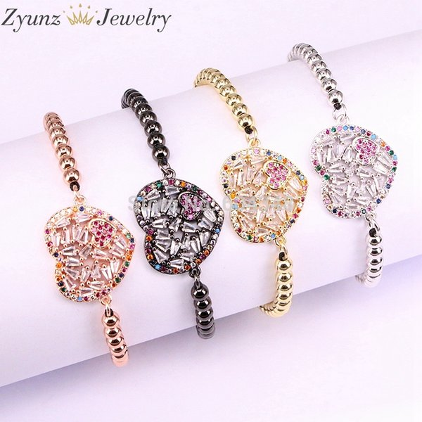 5PCS ZYZ338-0643 Braiding Handmade Bead Strand Bracelet Micro Pave CZ Heart Macrame Rope Chain Bracelet Jewelry