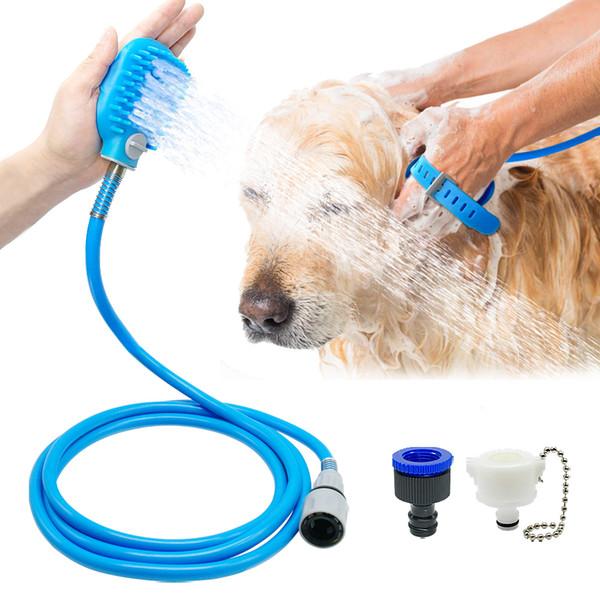 Мягкая собака ванна душ для собак Зоотовары кисти Перчатки массажер стиральная инструмент опрыскиватели собака душ скруббер опрыскиватель chuveiros D19011506