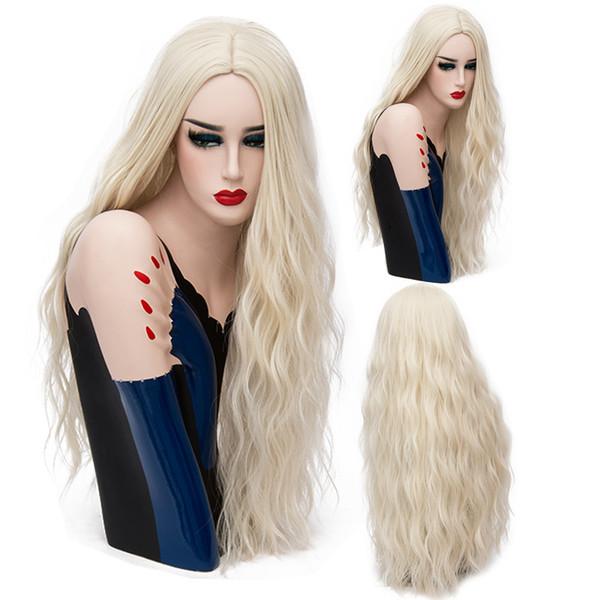 Parrucca ondulata lunga di colore rosa 70CM Parrucca bionda per donna sintetica naturale 29 colori pieni di capelli resistenti al calore