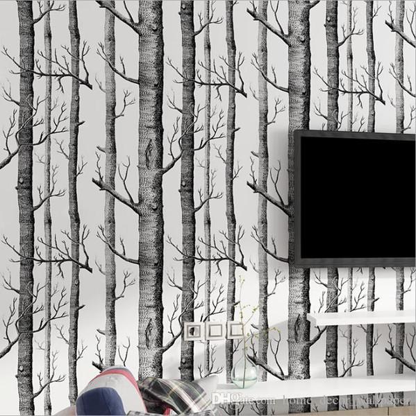 Black White Birch Tree Wallpaper per camera da letto Design moderno Soggiorno Carta da parati Rotolo Rustico Foresta Legno Sfondi Perlato