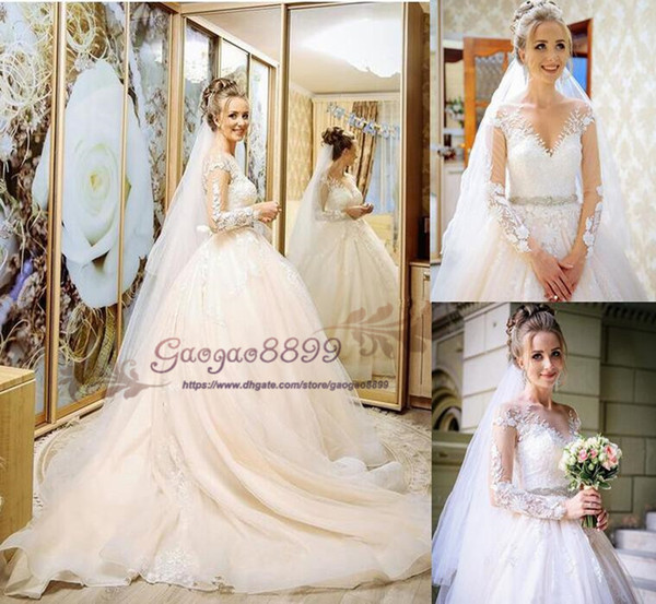 2019 spring country A-Line wedding dresses sheer Neck with Long Sleeves crystal sash Princess custom made with veil Bridal Dresses Plus Size