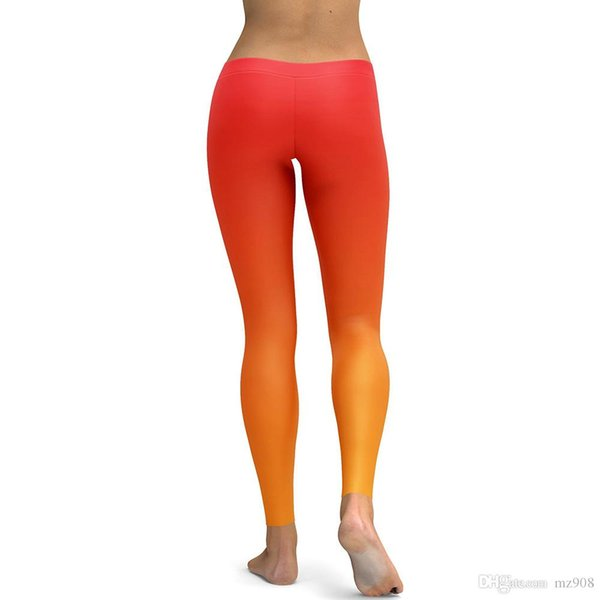 Women Pant Orange Gradual Color Leggings Fashion Workout Charming Hipster Legging Trousers For Women Skinny Slim Sexy Yoga Pants