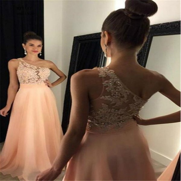 Fitted One Shoulder Sexy Evening Dress 2019 Peach A Line Chiffon Long Graduation Prom Dresses With Appliques Stunning Formal