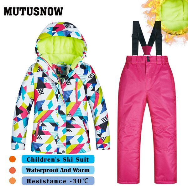 MUTUSNOW 2019 Girls Ski Suit Children's Brands High Quality Skiwear Windproof Waterproof Snow Pants Warm Child Winter Snowboard Suit CSJ