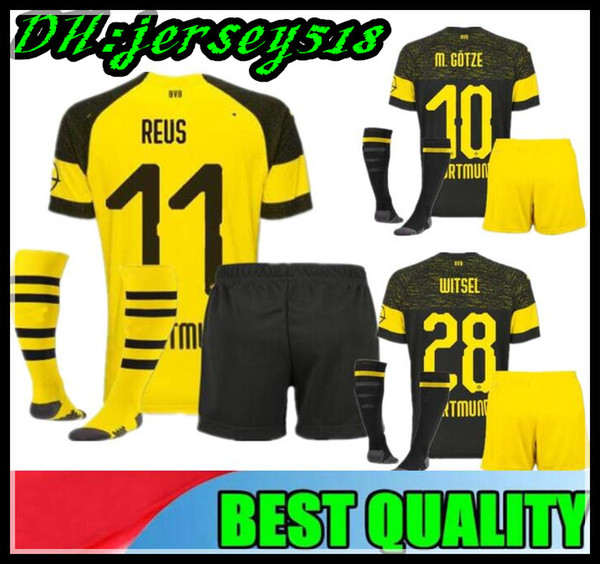 outlet store a04c5 e72a1 2019 18 19 Kids Kit Borussia Dortmund Soccer Jersey Uniform 2018 2019 REUS  PULISIC M.GOTZE WITSEL Dortmund Child Away BOYS Football Shirts From ...
