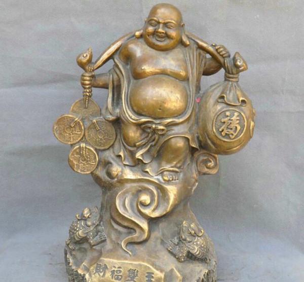 NEW 15' China Bronze Buddhism Maitreya Bag Monk Golden Toad Sculpture Statue (A0414)