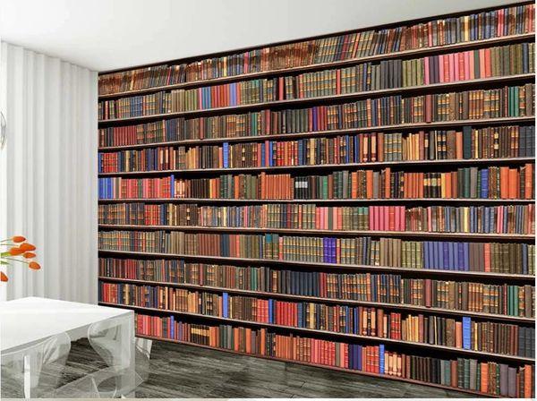 best selling 3d bookshelf bookcase background wall modern wallpaper for living room