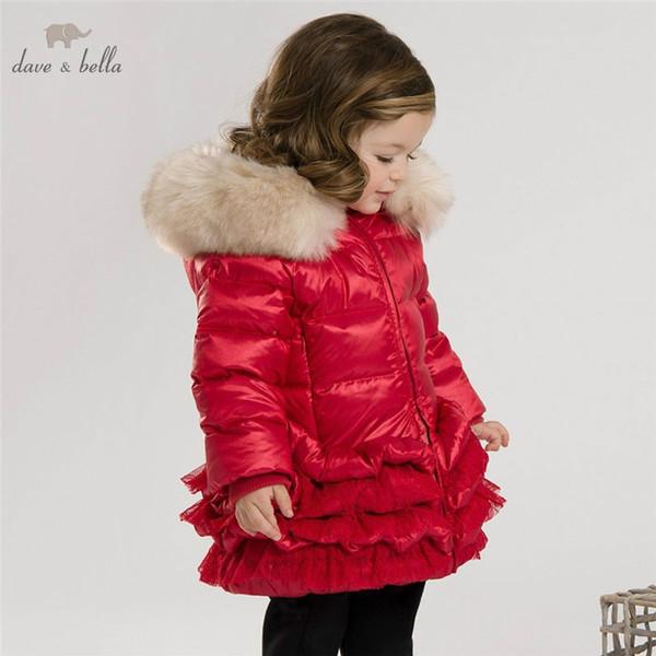 DB3390 dave bella cappotto bambino inverno bambino giù ragazze cappotto imbottito in piuma d'oca bianca ragazze piuma giacca rosa rosso