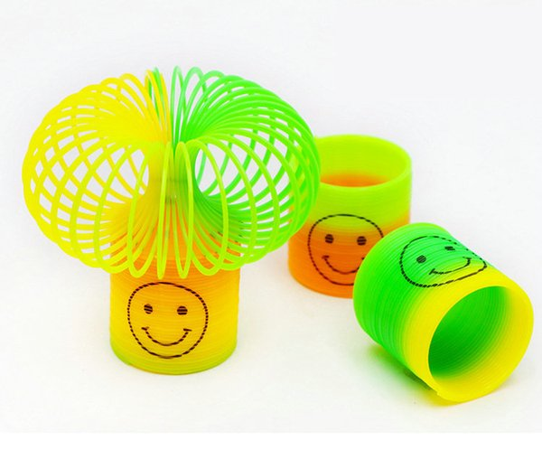 best selling DHL 144PCS 3.5cm Colorful Magic rainbow spring circle Slinky Children Classic Development Educational Plastic Toy Kids Christmas Gifts