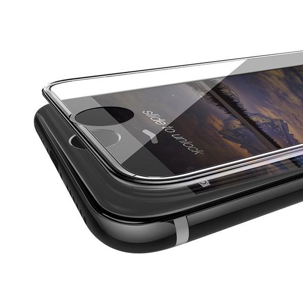 Temperli Cam iphone 7 7 artı Ekran Koruyucu Film Için Silikon Kenar 3D Tam Kapak iphone X 8 8 artı 6 6 s artı X XR XS Cam Kapak A