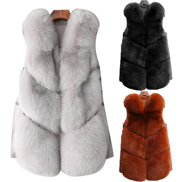 Fashion Faux Fox Fur Plush Vest Winter Female Short Type Trendy Fur Coat Padded Vest 2018 Brand New 2018 4 Colors