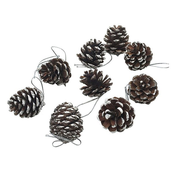 9pcs Christmas Pine Cones Bauble Xmas Tree Party Hanging Decoration Ornament 2018 Gift
