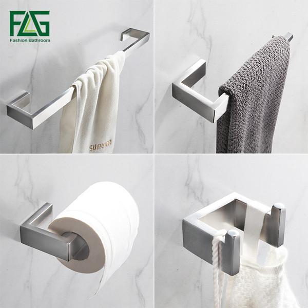 FLG 304 acero inoxidable níquel cepillado montaje en la pared del baño de hardware juegos de toallas Bar Accesorios gancho del traje sostenedor del papel de cuarto de baño fijados