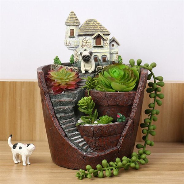 Cartoon Castle Succulent Vases Figurines Ornaments Stairs Plants Flower Pot Artware Creative Gift Home Decor Free Shipping SH190918