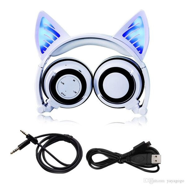 Wholesale Foldable Cosplay Cat Ear Bluetooth Headphone Wireless Wire Universal Stereo Headset LED Light Flashing Earphone With Mic e363