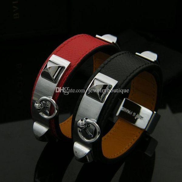Pop alta Ustore8 CDC New pulseira de aço design Titanum com couro genuíno em cinco cores Mulheres e homem presentes jóias PS5373