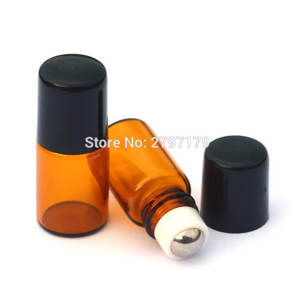 100 adet Doldurulabilir Parfüm Örnek Rulo Amber Cam Şişe Mini Esansiyel Yağı 2 ml Roll-on Şişe ve Metal Rulo Şişe