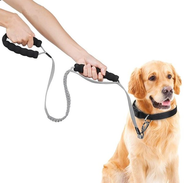 Anti Pull Training Dog Leash No Pull traffic stop Shock Absorbing Bungge Pet Leash with 2 control handles