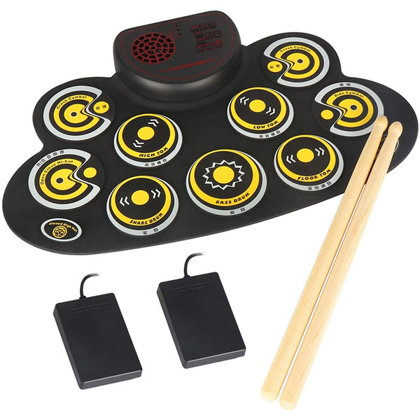top popular ABZB-Electronic Drum Set Portable Electronic Roll Up Practice Pad Drum Kit with Built in Speakers Foot Pedals Drumsticks 2021