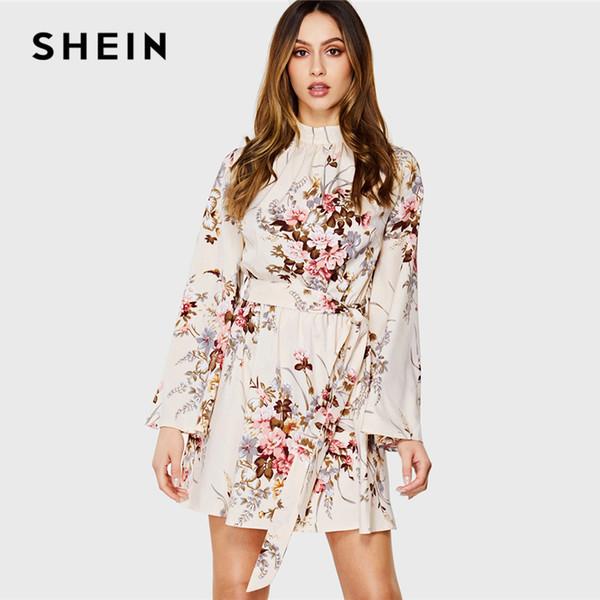 SHEIN Multicolor EleCasual Mock Neck Cravatta in vita Stampa floreale Stand Collo con maniche a balze Abito autunno Donna Abiti da sera