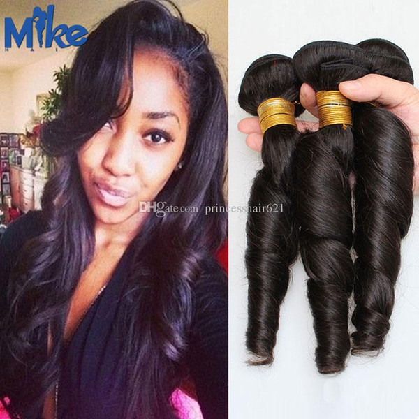 MikeHAIR Soft Human Hair Weave 3 Bundles Spring Curly Hair Extensions 12 14 16 18 20 22 24Inches Natural Color Brazilian Hair Bundles
