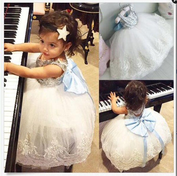 Girls Sequins Bubble Skirt Blue Bow Baby Girls Princess Dresses Lace Summer Dresses Sleeveless Cotton Vest Skirt 1-5T