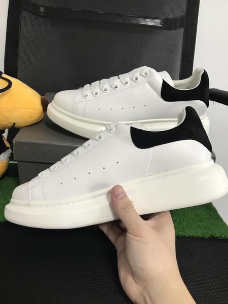 Yeni tasarımcı kadınlar rahat ayakkabılar moda gerçek deri ayakkabı flats adam klasik siyah beyaz casual sneakers kutusu ile boyutu 35-49