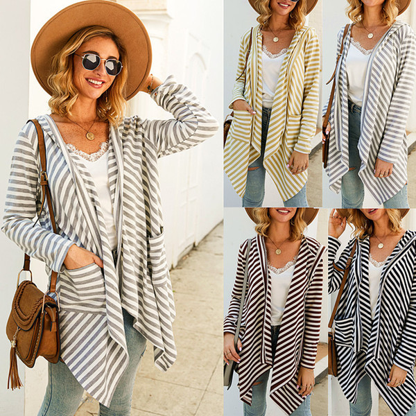 top popular Spring Autumn Womens Designer Outerwear Fashion Striped Printed Pockets Asymmetric Length Jackets Womens 2020 Luxury Designer Clothes 2020