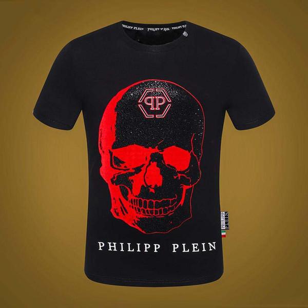 2019 Yeni tasarımcı kaliteli pamuk O-Boyun kısa kollu T-Shirt qq hayalet kafa marka siyah erkek kadın T-shirt moda stil spor T-shirt