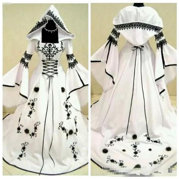 2019 Personalizado A Linha de Renda Preta Bordado Branco de Cetim Gótico Vestidos de Casamento Com Chapéu de Noiva Vestidos de Flores Adornadas Vestidos De Mariee