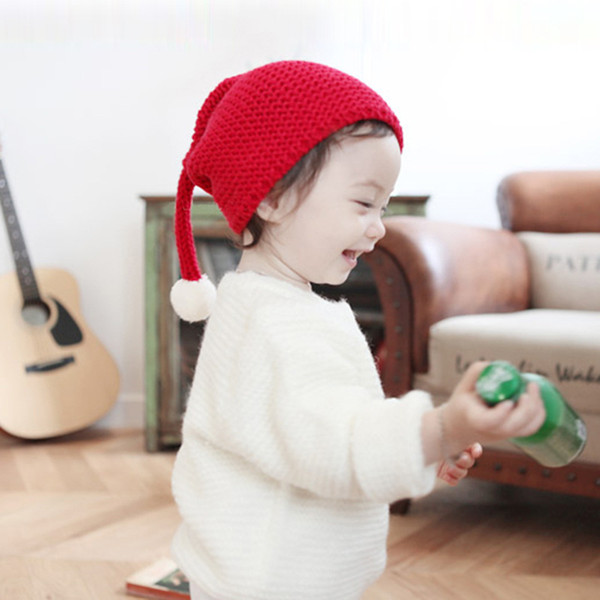 2019 Hot Kids Knitting Christmas Hat Candy Knit Big Ball Cute Warm Autumn and Winter Hat Solid Color Elf Long Tail Cap 903X30